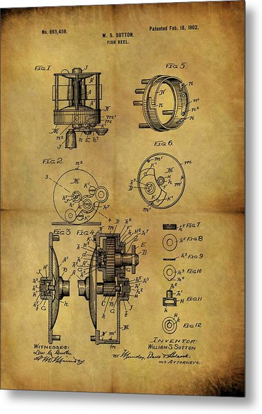1902 Fish Reel Patent Metal Print
