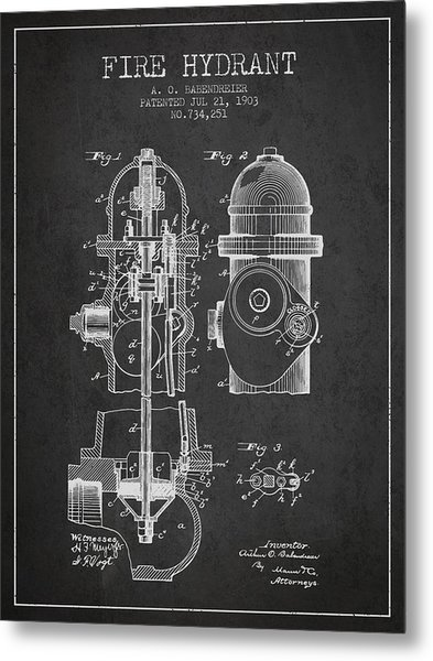 1903 Fire Hydrant Patent - Charcoal Metal Print