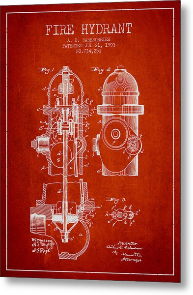 1903 Fire Hydrant Patent - Red Metal Print
