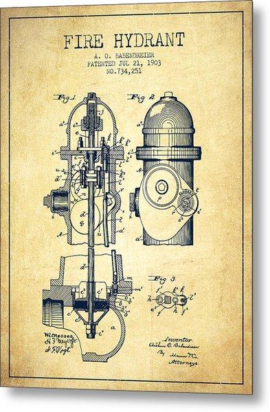 1903 Fire Hydrant Patent - Vintage Metal Print