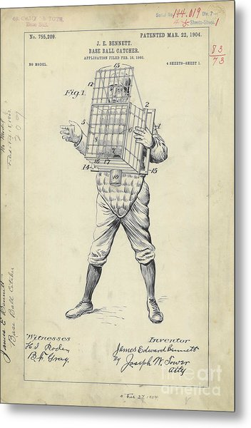 1904 Baseball Catcher Patent Metal Print