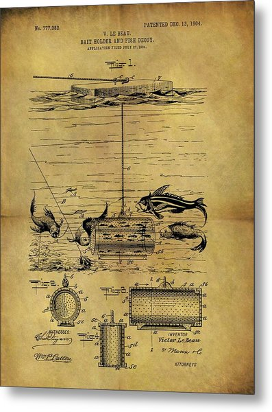 1904 Fishing Decoy Patent Metal Print