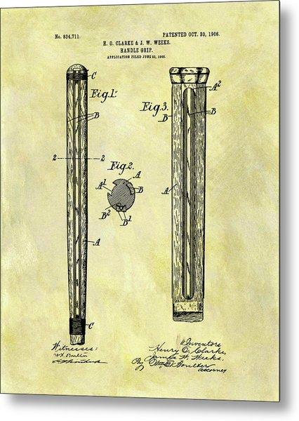 1906 Cricket Bat Patent Metal Print