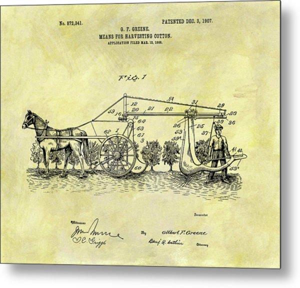 1907 Cotton Harvester Patent Metal Print
