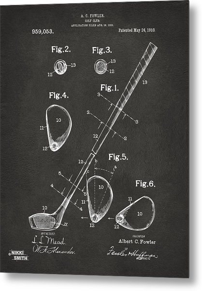 Metal Print featuring the digital art 1910 Golf Club Patent Artwork - Gray by Nikki Marie Smith