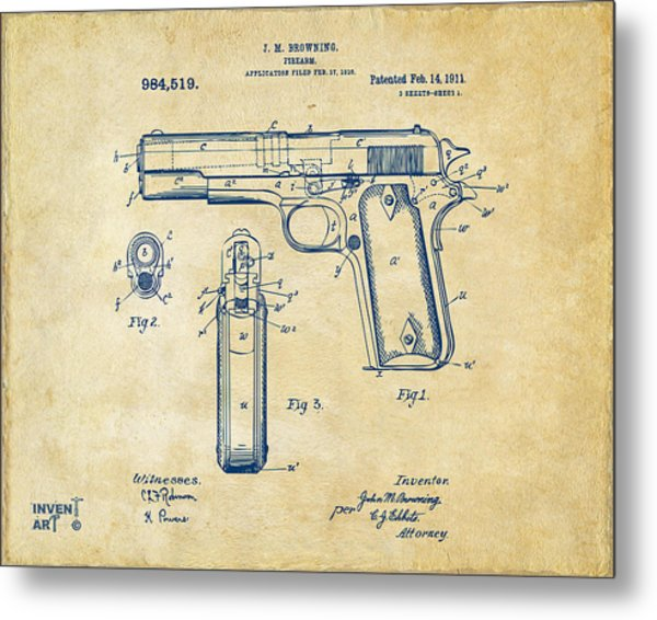 Metal Print featuring the digital art 1911 Colt 45 Browning Firearm Patent Artwork Vintage by Nikki Marie Smith