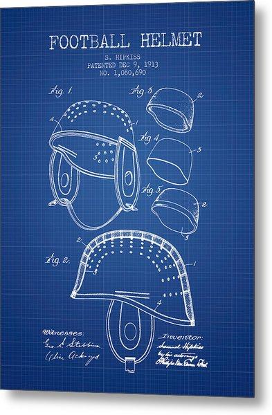 1913 Football Helmet Patent - Blueprint Metal Print