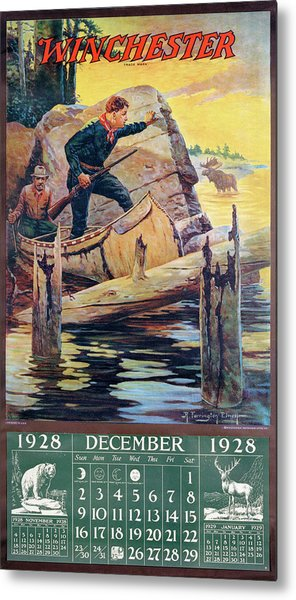 1928 Winchester Repeating Arms And Ammunition Calendar Metal Print