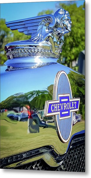 1930 Chevrolet Ad Hood Ornament Metal Print
