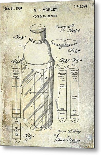 1930 Cocktail Shaker Patent Metal Print