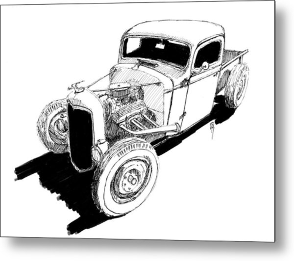 1937 Chevy Bobber Truck Hot Rod Ink Dwg Metal Print by David King