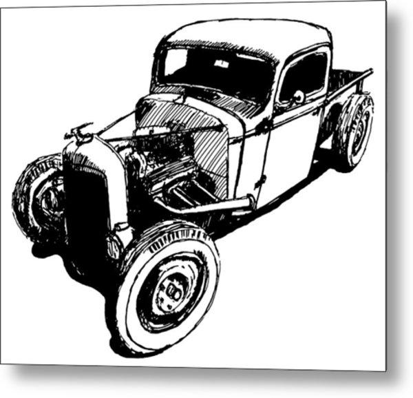 1937 Chevy Bobber Truck Hot Rod Tee Metal Print by David King