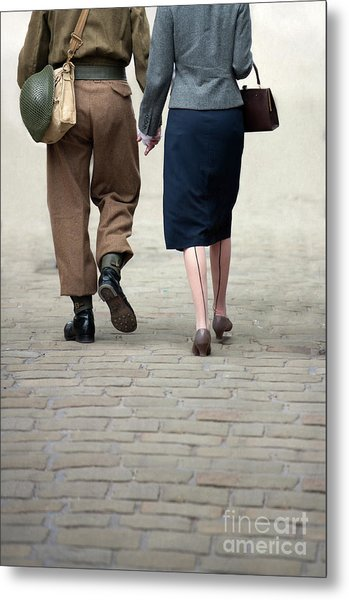 1940s Couple Soldier And Civilian Holding Hands Metal Print