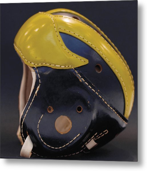Metal Print featuring the photograph 1940s Leather Wolverine Helmet by Michigan Helmet