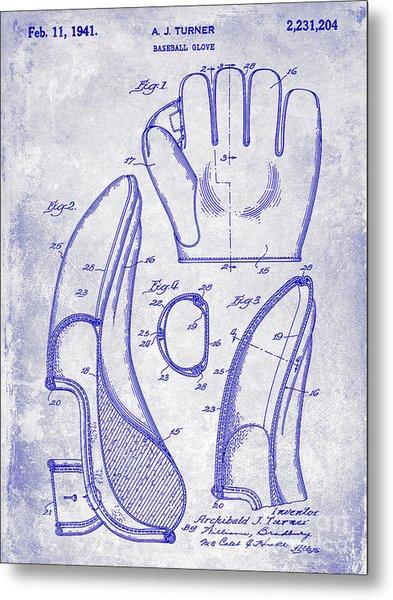 1941 Baseball Glove Patent Blueprint Metal Print