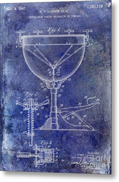 1941 Ludwig Drum Patent Blue Metal Print