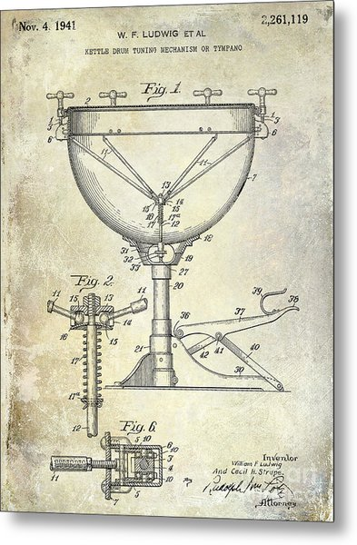 1941 Ludwig Drum Patent  Metal Print