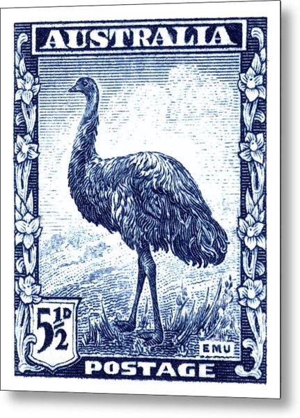 1942 Australia Emu Bird Postage Stamp Metal Print