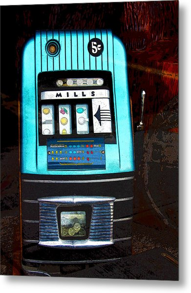 1945 Mills High Top 5 Cent Nickel Slot Machine Metal Print