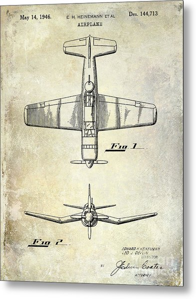 1946 Airplane Patent Metal Print