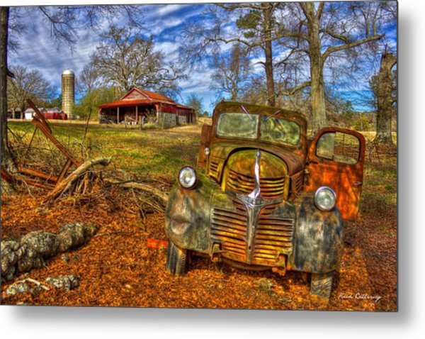 Retired 1947 Dodge Dump Truck Country Scene Art Metal Print