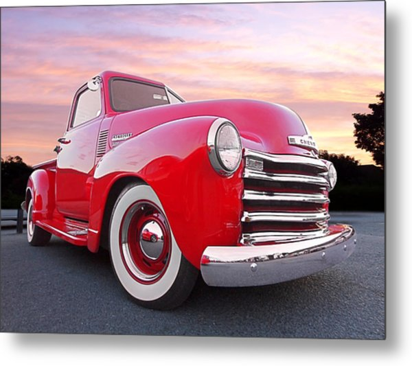 1950 Chevy Pick Up At Sunset Metal Print