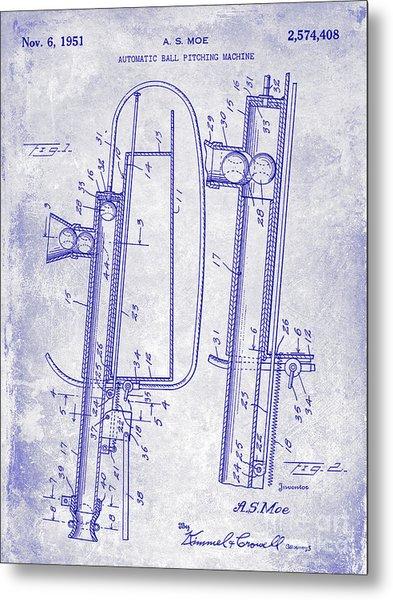 1951 Baseball Pitching Machine Patent Blueprint  Metal Print
