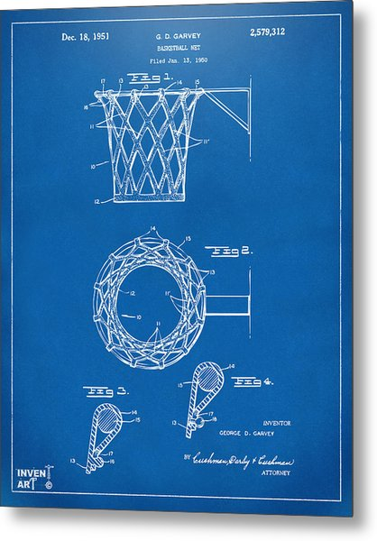 Metal Print featuring the digital art 1951 Basketball Net Patent Artwork - Blueprint by Nikki Marie Smith