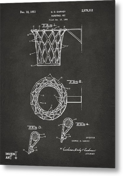 Metal Print featuring the digital art 1951 Basketball Net Patent Artwork - Gray by Nikki Marie Smith