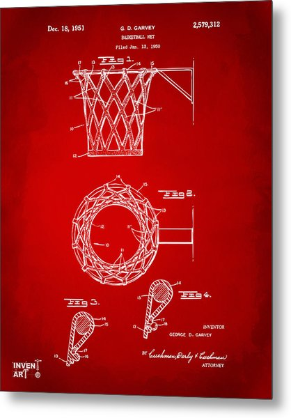 Metal Print featuring the digital art 1951 Basketball Net Patent Artwork - Red by Nikki Marie Smith