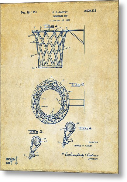 Metal Print featuring the digital art 1951 Basketball Net Patent Artwork - Vintage by Nikki Marie Smith