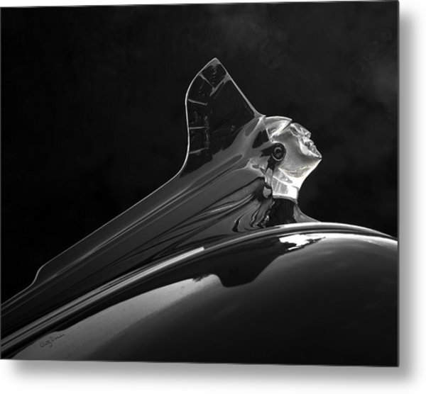 1952 Pontiac Catalina Chieftan Lighted Hood Ornament 3 Metal Print