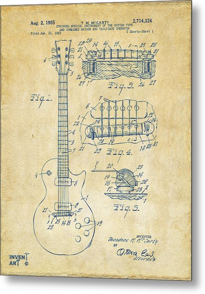 Metal Print featuring the drawing 1955 Mccarty Gibson Les Paul Guitar Patent Artwork Vintage by Nikki Marie Smith