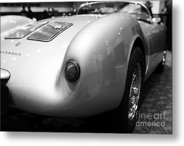 Metal Print featuring the photograph 1955 Porsche 550 Rs Spyder . Black And White Photograph . 7d9453 by Wingsdomain Art and Photography