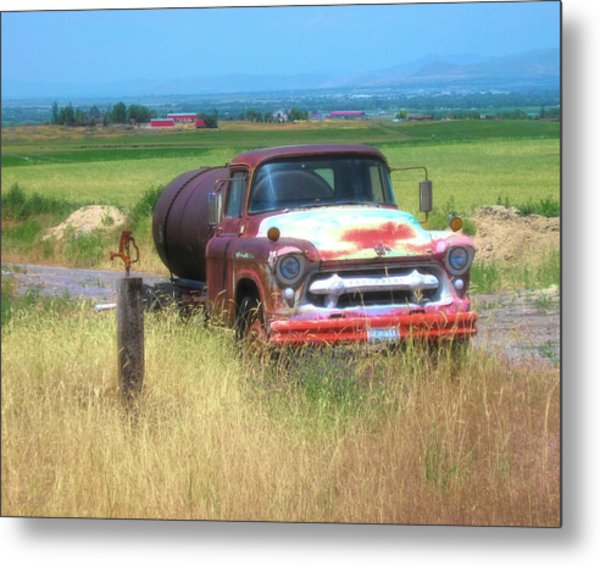 1956 Heavy Chevy Truck In Cache Valley Metal Print