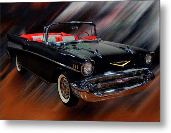 1957 Chevy Bel Air Convertible Digital Oil Metal Print