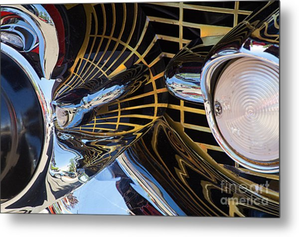 1957 Chevy Bel Air Grill Abstract 1 Metal Print