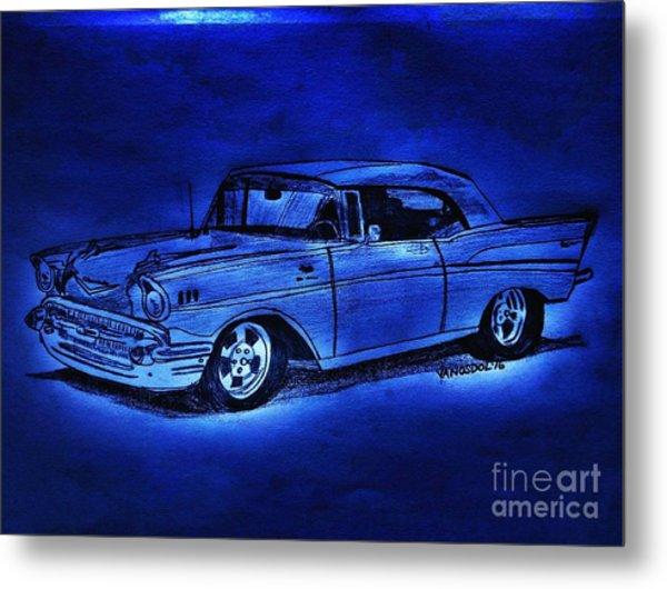 1957 Chevy Bel Air - Moonlight Cruisin  Metal Print
