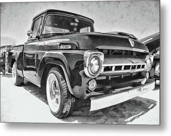 1957 Ford F100 In Black And White Metal Print