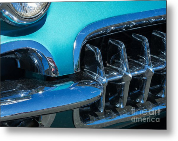 1960 Chevy Corvette Headlight And Grill Abstract Metal Print