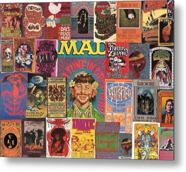 1960s Rock Concert Poster Colage Metal Print