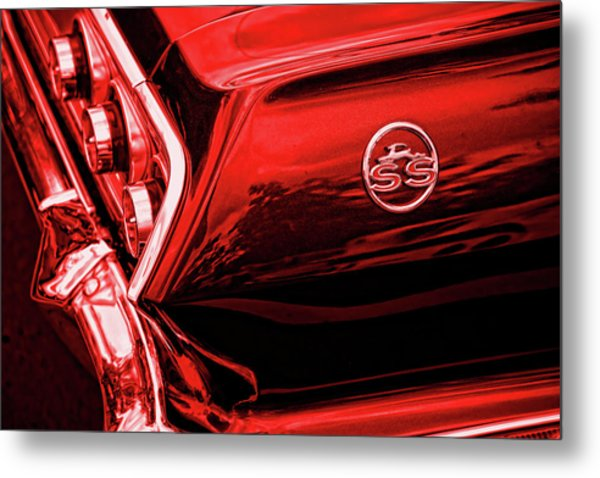 1963 Chevrolet Impala Ss Red Metal Print