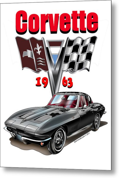 Metal Print featuring the mixed media 1963 Corvette With Split Rear Window by Thomas J Herring