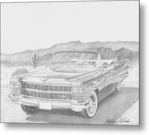 1964 Cadillac Series 62 Convertible Classic Car Art Print Metal Print by Stephen Rooks