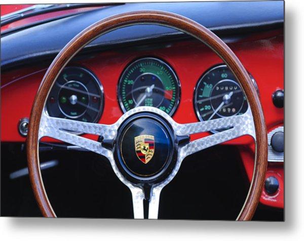 1964 Porsche C Steering Wheel Metal Print by Jill Reger