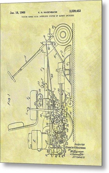 1966 Riding Mower Patent Metal Print