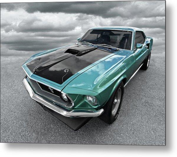 1969 Green 428 Mach 1 Cobra Jet Ford Mustang Metal Print