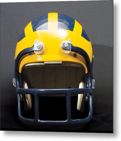 Metal Print featuring the photograph 1970s Wolverine Helmet by Michigan Helmet
