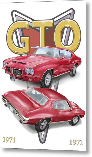 Metal Print featuring the digital art 1971 Pontiac Gto by Thomas J Herring