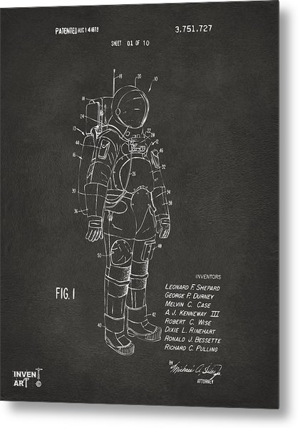 Metal Print featuring the digital art 1973 Space Suit Patent Inventors Artwork - Gray by Nikki Marie Smith